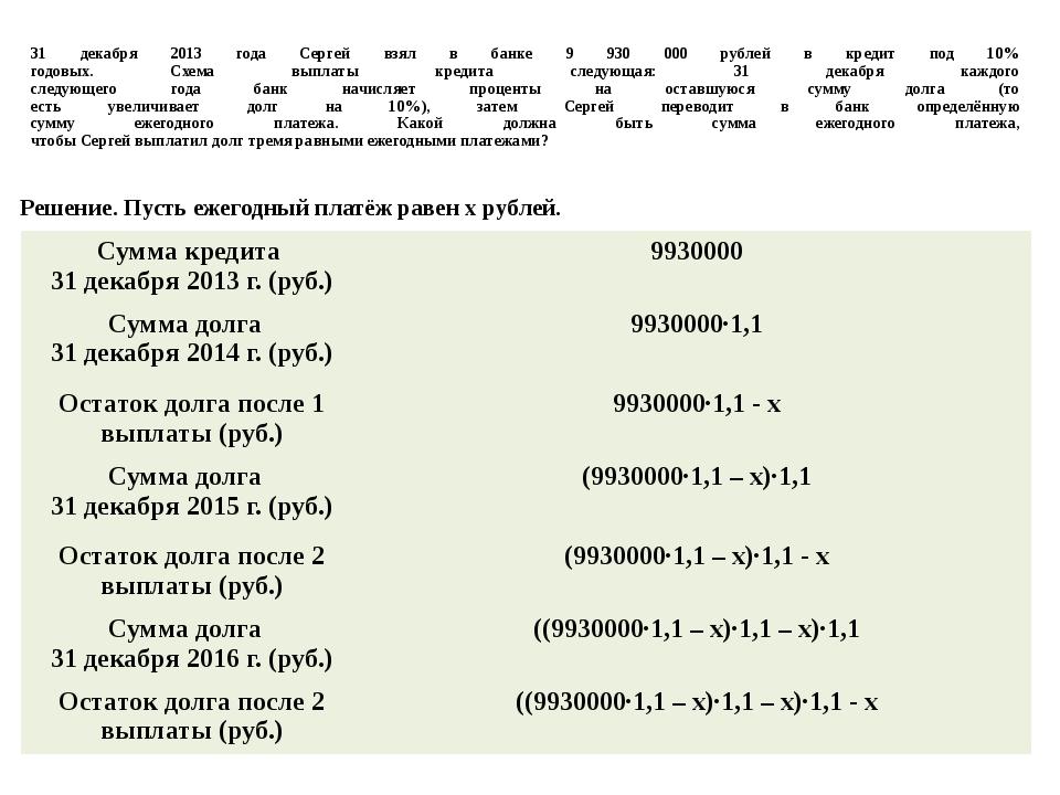 31 декабря 2013 года Сергей взял в банке 9 930 000 рублей в кредит под 10% го...