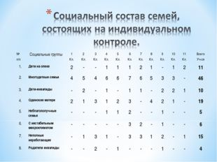 № п/пСоциальные группы1 Кл.2 Кл.3 Кл.4 Кл.5 Кл.6 Кл.7 Кл.8 Кл.9 Кл.