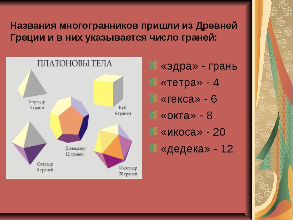Названия многогранников пришли из Древней Греции и в них указывается число гр...