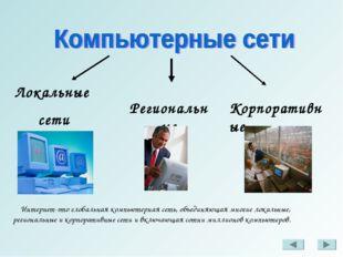 Локальные сети Региональные Корпоративные Интернет-это глобальная компьютерна
