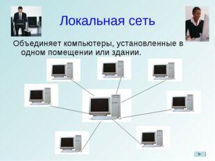 Локальная сеть Объединяет компьютеры, установленные в одном помещении или зда