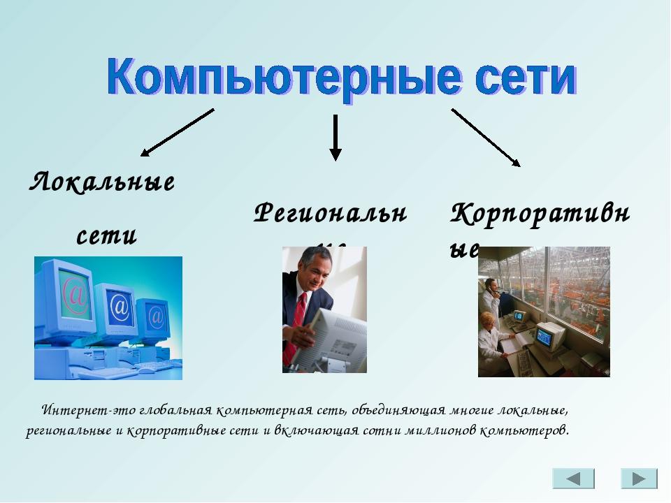 Локальные сети Региональные Корпоративные Интернет-это глобальная компьютерна...