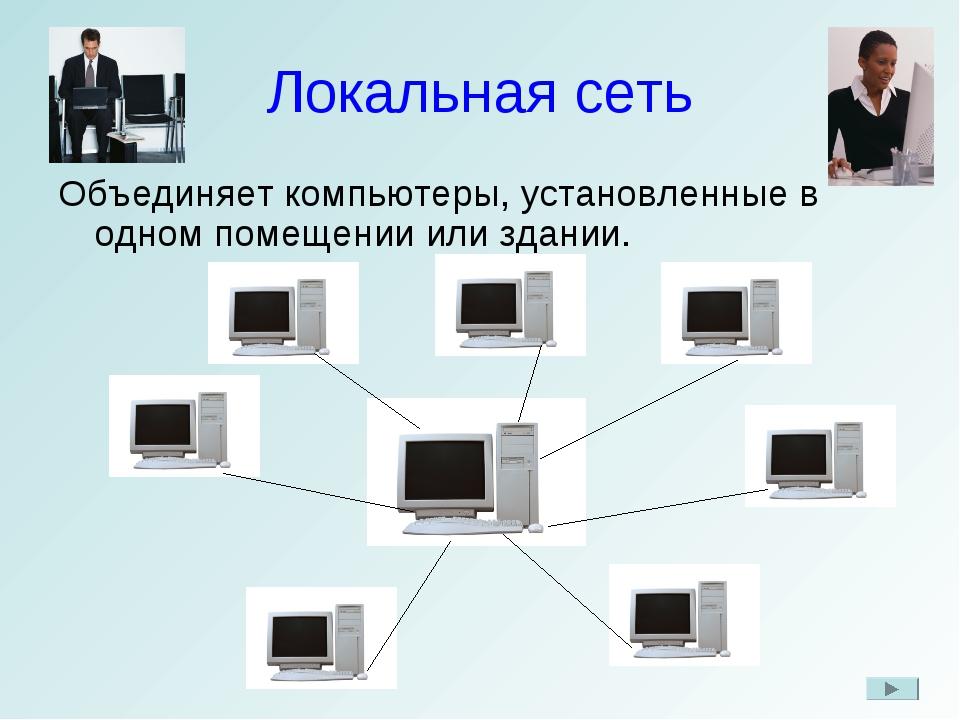 Локальная сеть Объединяет компьютеры, установленные в одном помещении или зда...