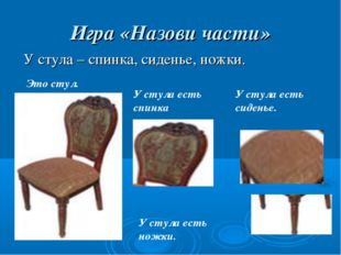 Игра «Назови части» У стула – спинка, сиденье, ножки. Это стул. У стула есть