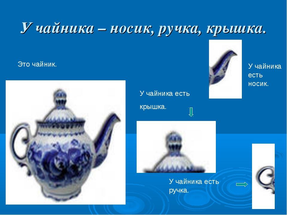 У чайника – носик, ручка, крышка. Это чайник. У чайника есть крышка. У чайник...