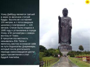 Усику Дайбуцу является третьей в мире по величине статуей Будды. Высота её со