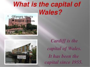 What is the capital of Wales? Cardiff is the capital of Wales. It has been t