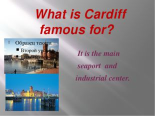 What is Cardiff famous for? It is the main seaport and industrial center.