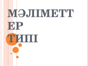 МӘЛІМЕТТЕР ТИПІ
