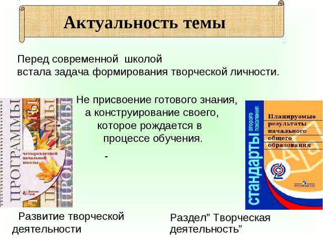 """Развитие творческой деятельности Раздел"""" Творческая деятельность"""" Перед совр..."""