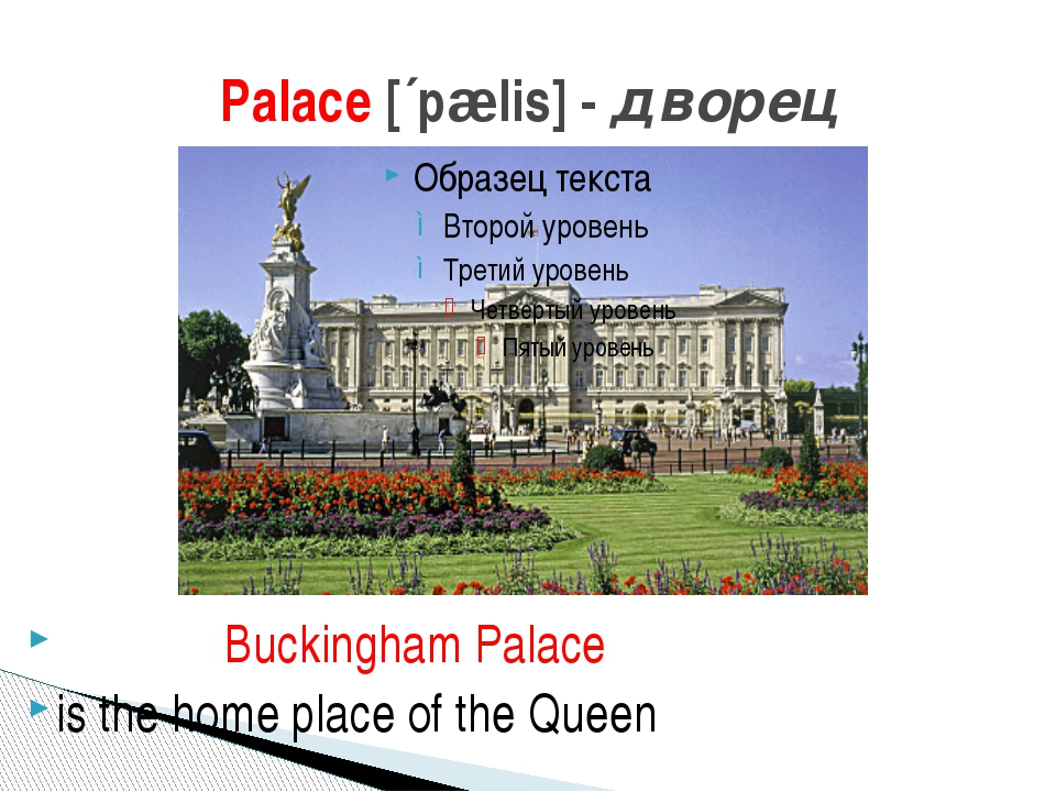 Palace [´pælis] - дворец Buckingham Palace is the home place of the Queen