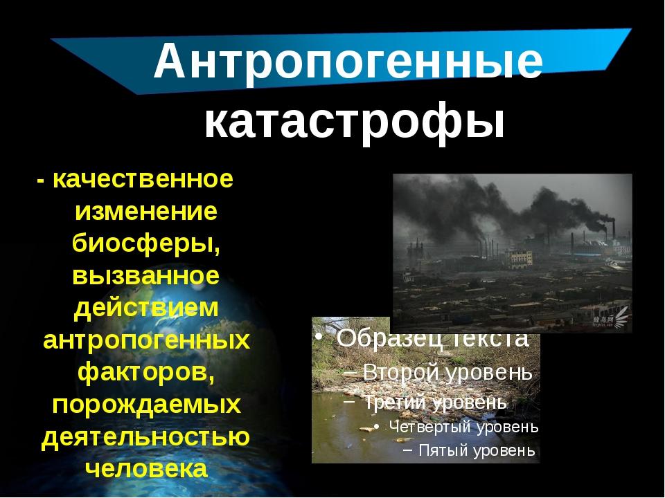 Антропогенные катастрофы - качественное изменение биосферы, вызванное действ...