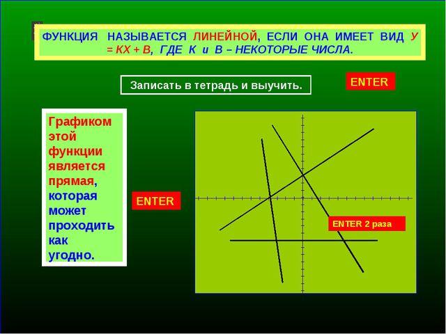 Линейная функция. Что называют линейной функцией? Что является графиком линей...