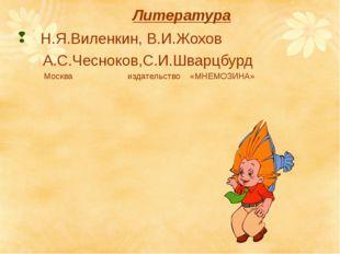 Литература Н.Я.Виленкин, В.И.Жохов А.С.Чесноков,С.И.Шварцбурд Москва издатель