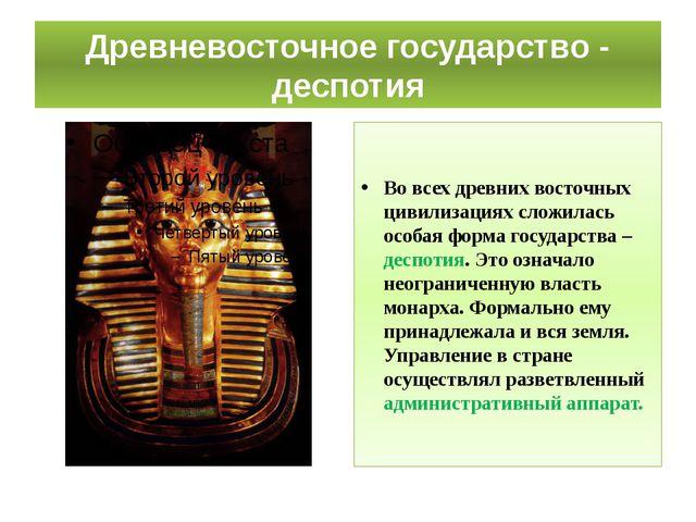 Древневосточное государство - деспотия Во всех древних восточных цивилизациях...