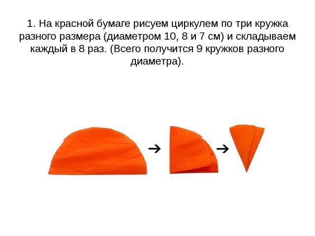 1. Накрасной бумаге рисуем циркулем потри кружка разного размера (диаметром...