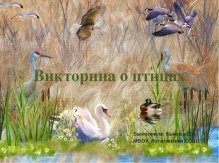 Викторина о птицах Выполнила: Быкова Е.А. МБОУ Лопатинская СОШ