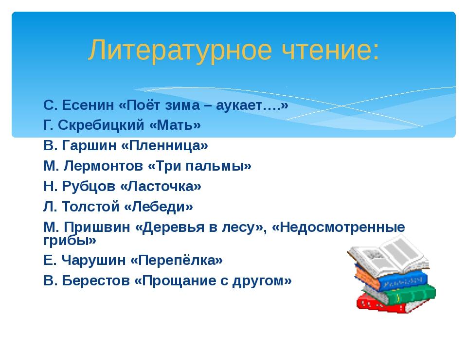 С. Есенин «Поёт зима – аукает….» Г. Скребицкий «Мать» В. Гаршин «Пленница» М....