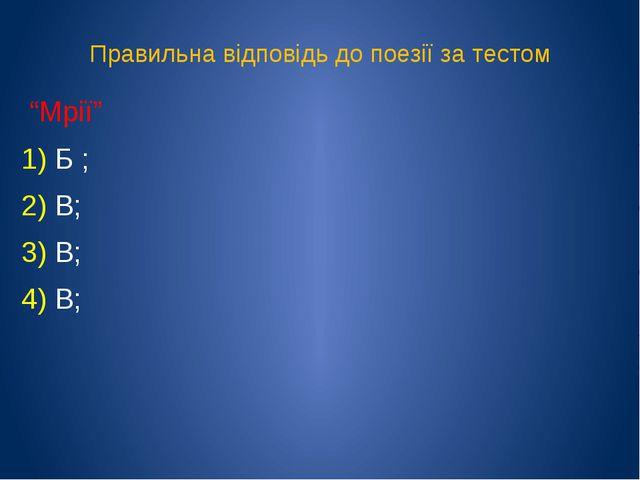 """Правильна відповідь до поезії за тестом """"Мрії"""" 1) Б ; 2) В; 3) В; 4) В;"""