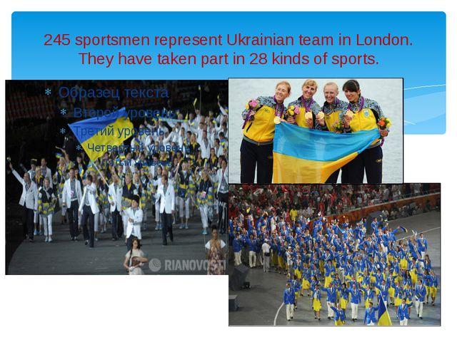 245 sportsmen represent Ukrainian team in London. They have taken part in 28...