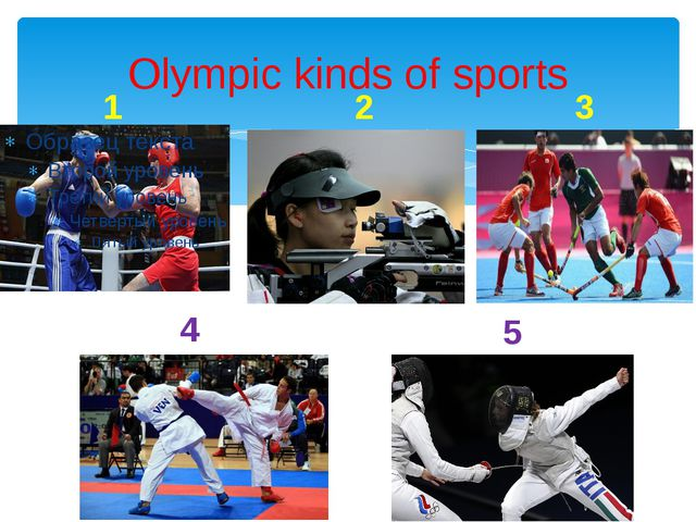 Olympic kinds of sports 1 2 3 4 5