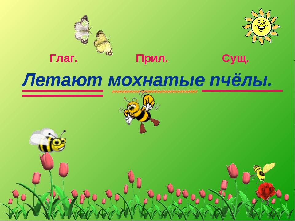 Летают мохнатые пчёлы. Сущ. Глаг. Прил.
