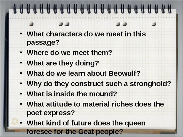 What characters do we meet in this passage? Where do we meet them? What are t...