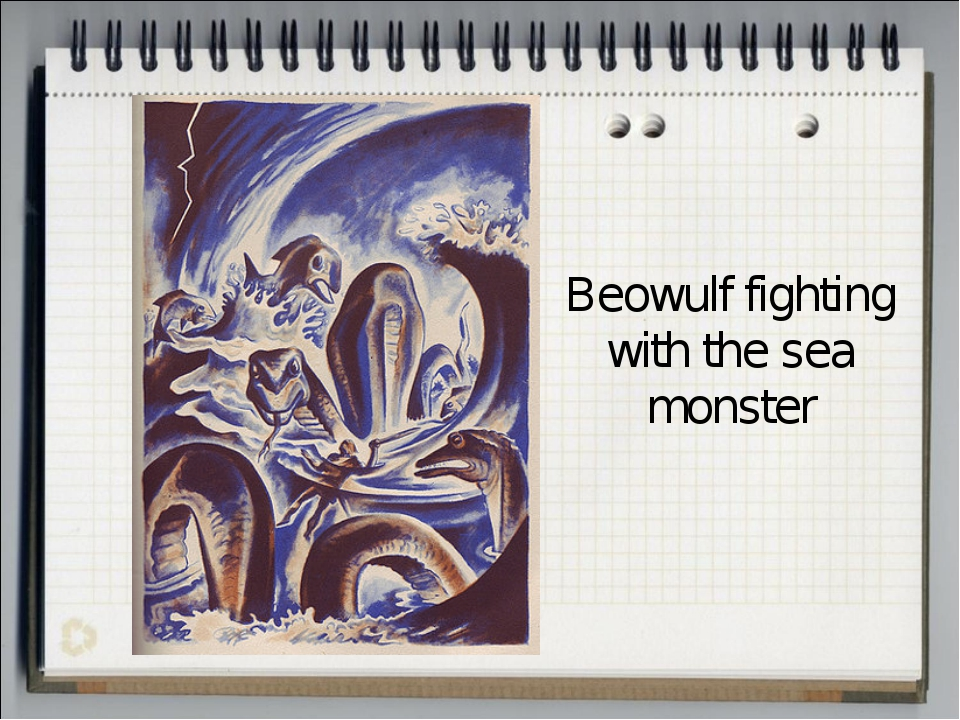 Beowulf fighting with the sea monster