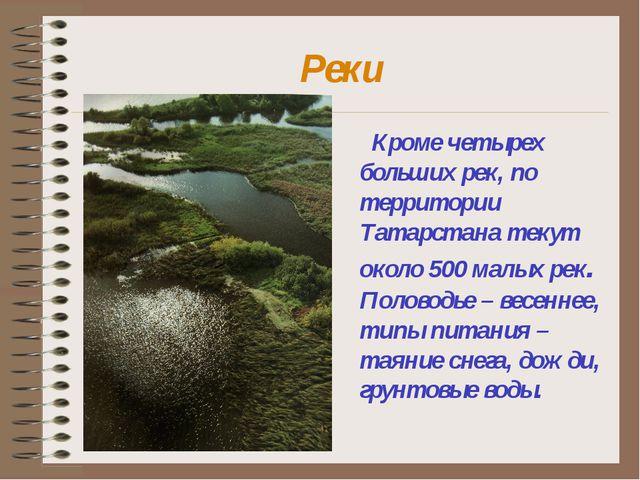 Реки Кроме четырех больших рек, по территории Татарстана текут около 500 малы...