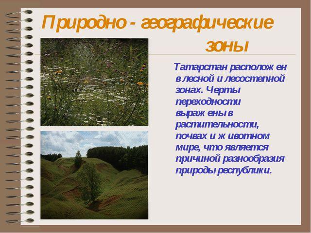 Природно - географические зоны Татарстан расположен в лесной и лесостепн...