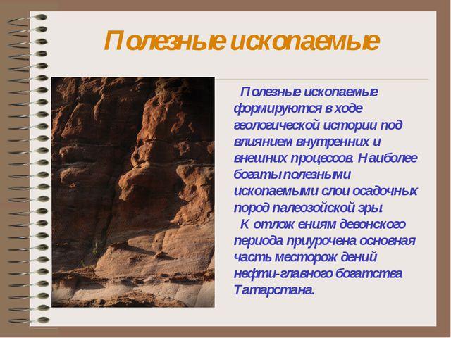 Полезные ископаемые Полезные ископаемые формируются в ходе геологической исто...