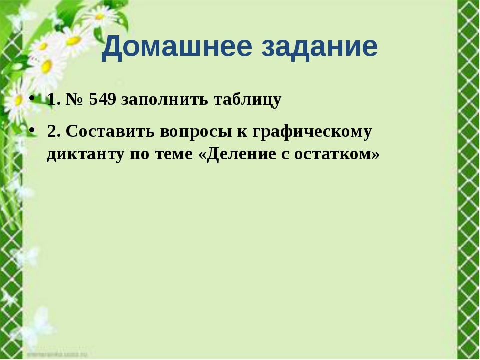 1. № 549 заполнить таблицу 2. Составить вопросы к графическому диктанту по те...