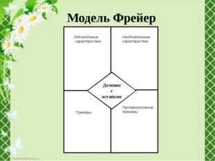Модель Фрейер де Деление с остатком Обязательные характеристики Необязательн