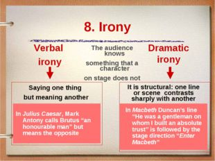8. Irony Verbal irony Saying one thing but meaning another Dramatic irony It