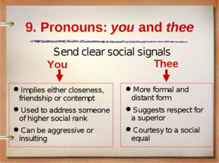9. Pronouns: you and thee You Implies either closeness, friendship or contemp