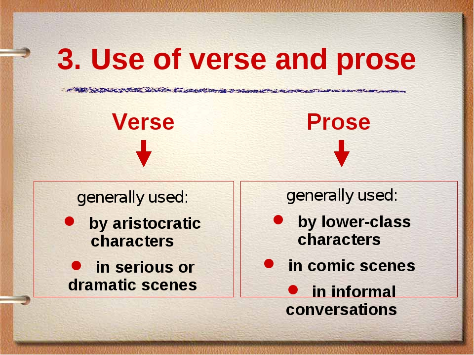 3. Use of verse and prose Verse generally used: by aristocratic characters in...