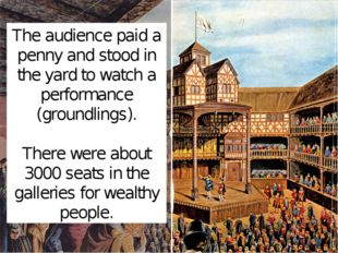 The audience paid a penny and stood in the yard to watch a performance (groun