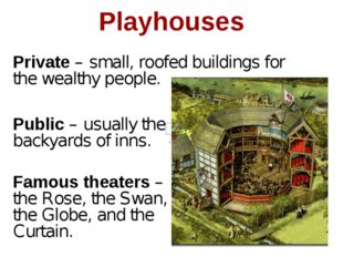 Playhouses Public – usually the backyards of inns. Famous theaters – the Rose