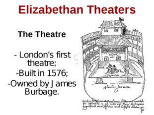 Elizabethan Theaters The Theatre - London's first theatre; -Built in 1576; -O