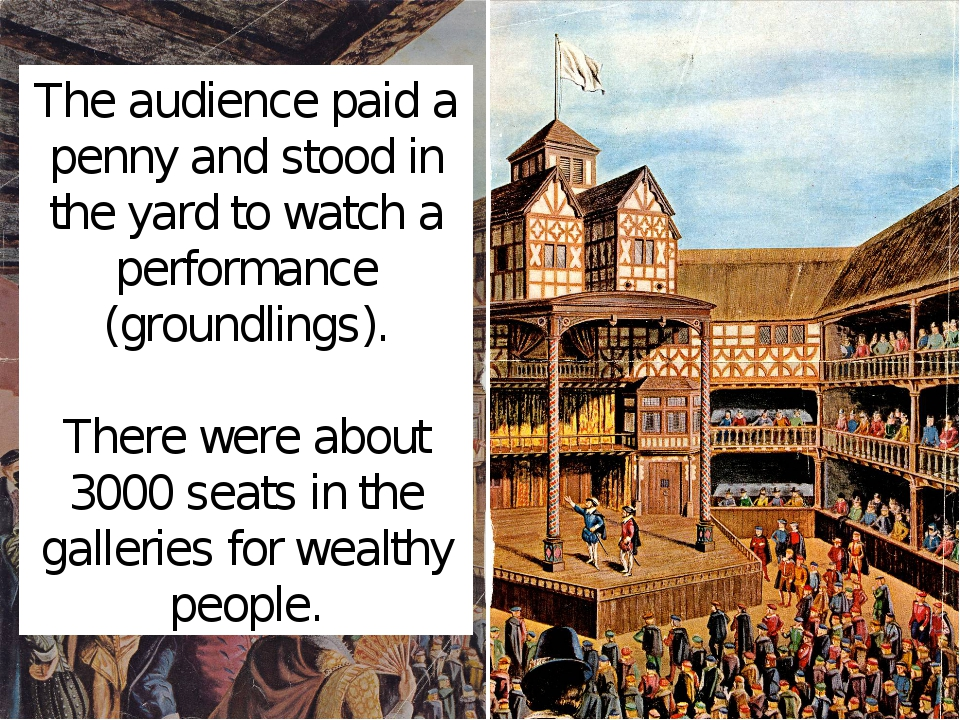 The audience paid a penny and stood in the yard to watch a performance (groun...