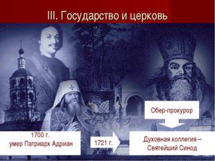 III. Государство и церковь 1700 г. умер Патриарх Адриан 1721 г. Духовная колл