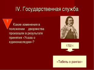 IV. Государственная служба Какие изменения в положении дворянства произошли в