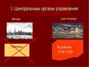 I. Центральные органы управления Приказы Москва Санкт-Петербург Коллегии 1718