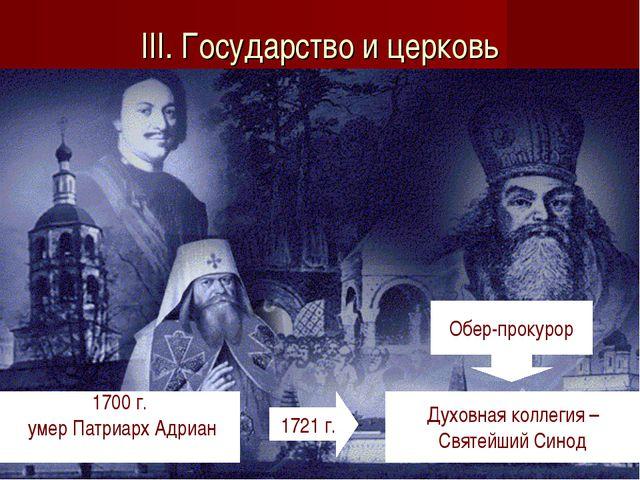 III. Государство и церковь 1700 г. умер Патриарх Адриан 1721 г. Духовная колл...