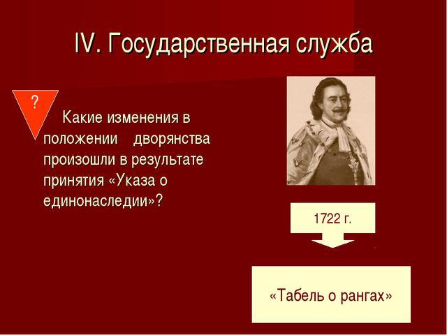 IV. Государственная служба Какие изменения в положении дворянства произошли в...