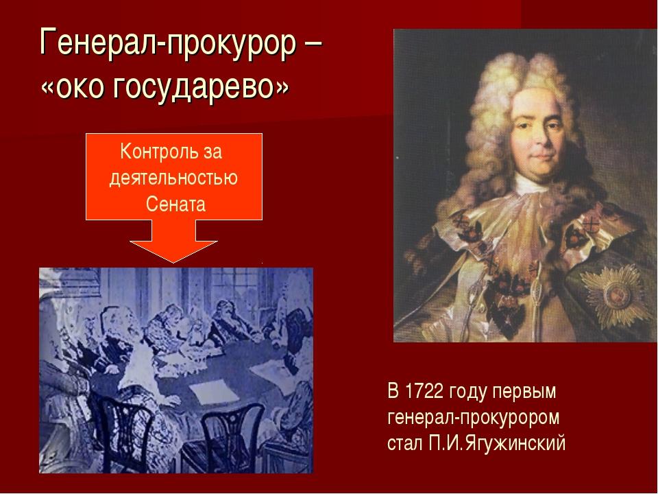 Генерал-прокурор – «око государево» Контроль за деятельностью Сената В 1722 г...