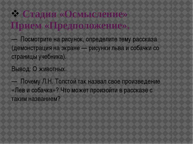 Стадия «Осмысление» Прием «Предположение». — Посмотрите на рисунок, определи...