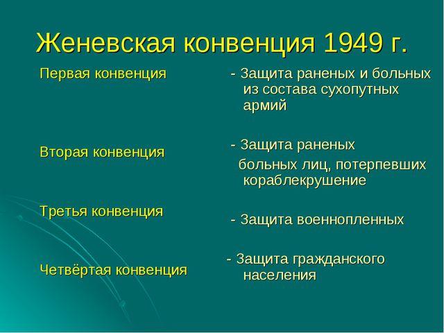 Женевская конвенция 1949 г. Первая конвенция Вторая конвенция Третья конвенци...