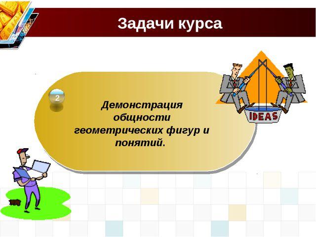 Задачи курса Демонстрация общности геометрических фигур и понятий. 2