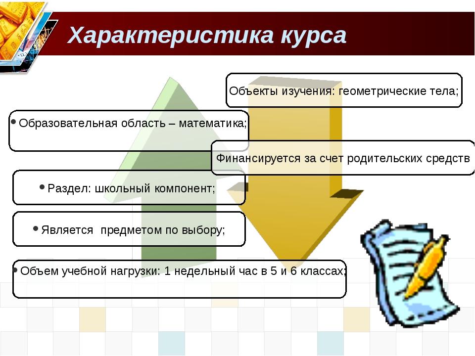 Характеристика курса Образовательная область – математика; Раздел: школьный к...